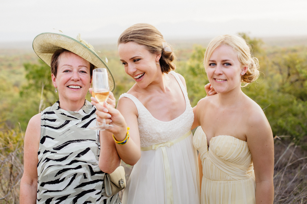 Bride Mom Sister, champagne, wedding vibes, safari wedding