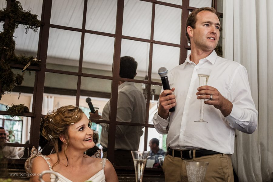 Groom giving a delightful speech during a wedding lunch at Secret Place, Parys