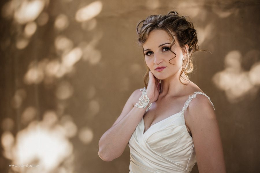 classic portrait of bride in dappled light in Parys