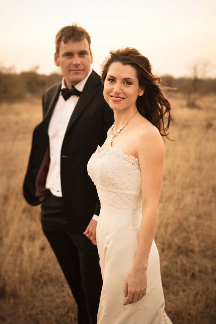 bride and groom in game reserve South Africa