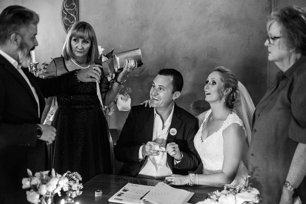 signing the register, Parys wedding, The Nutcracker wedding venue