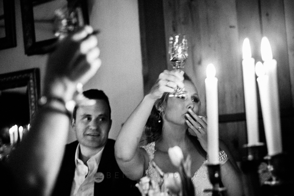 Toasts on the bridal couple during a Free State wedding reception.
