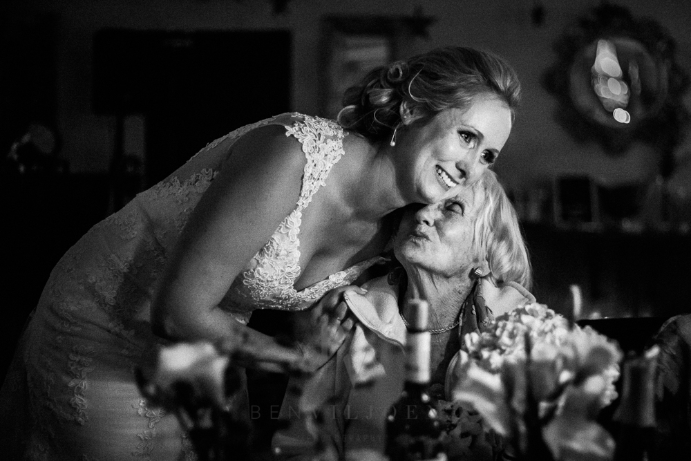 Emotional moment between bride and grandma at The Nutcracker wedding venue