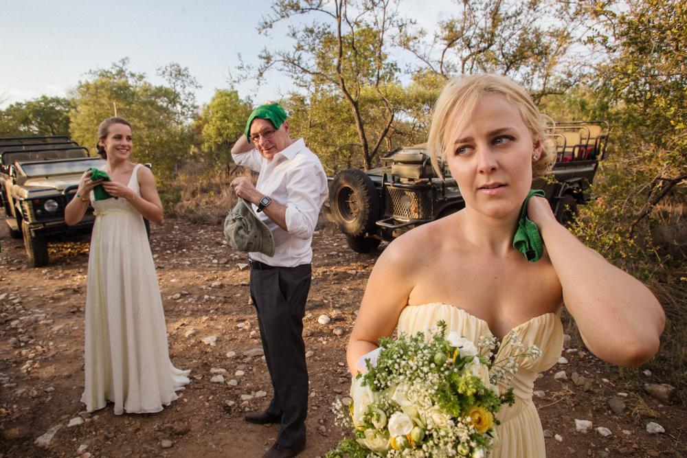 hot wedding day, overheating on safari. safari wedding, garonga weddings