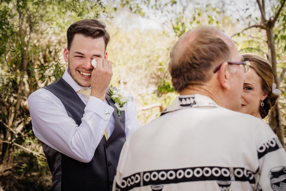 Garonga wedding, groom crying