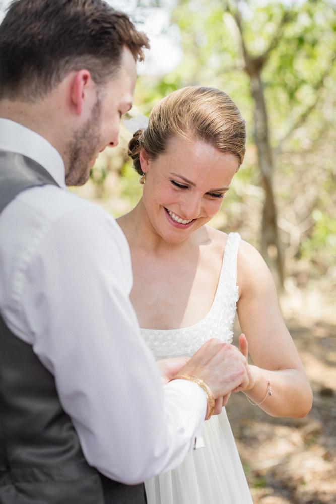 Garonga Safari Camp wedding, ring exchange