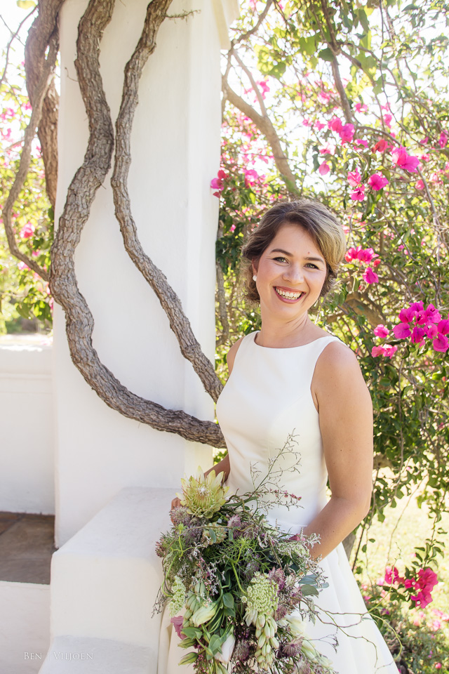 bride and bougainvillea