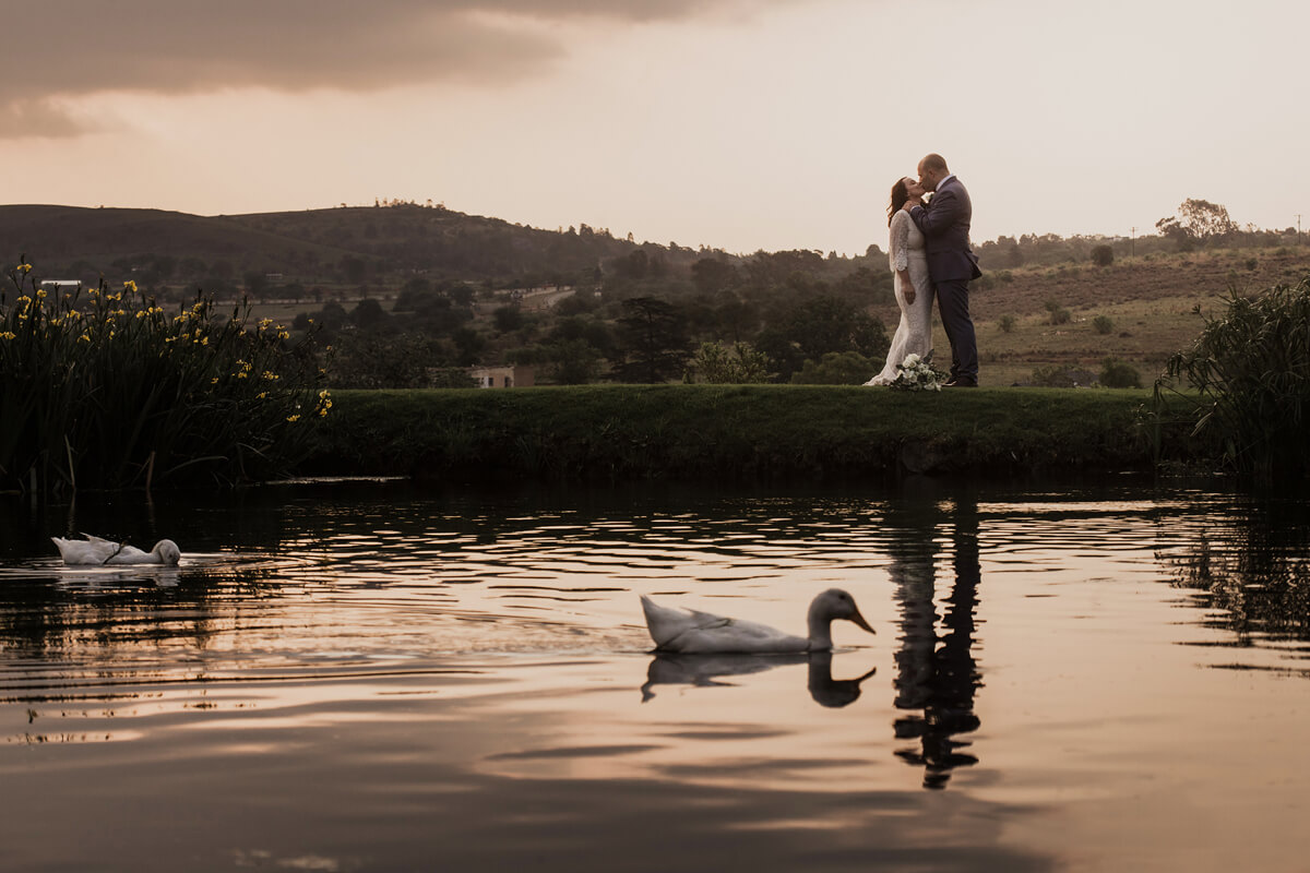 bridal couple with ducks cradle valley
