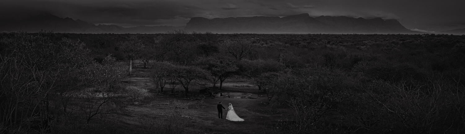 bridal couple on safari wedding near kruger national park by Ben Viljoen Photography