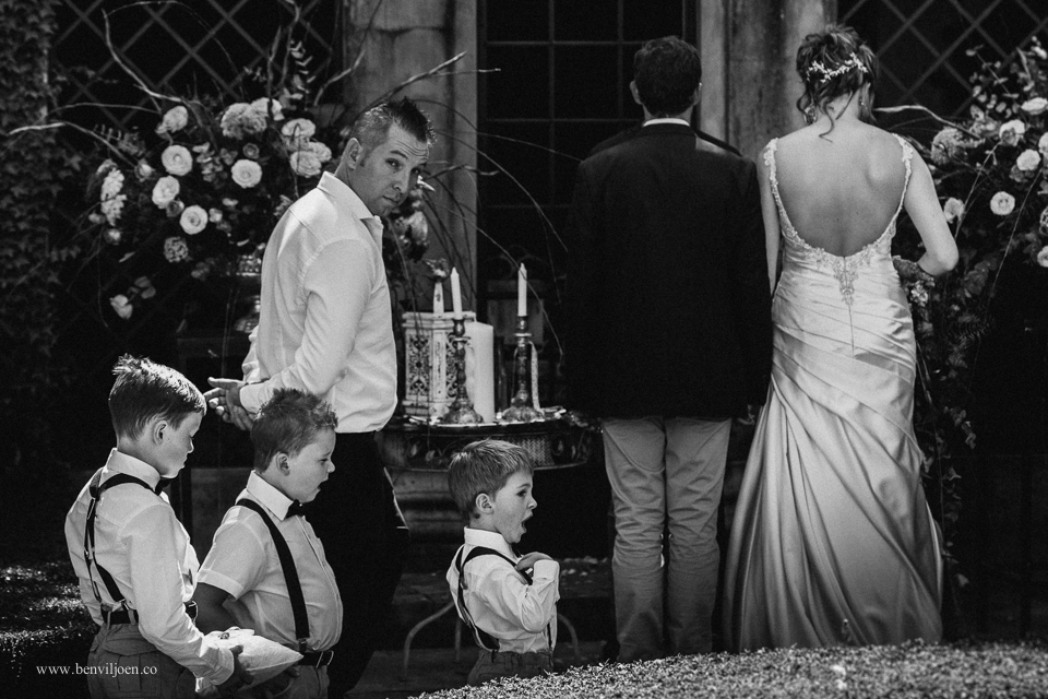 Kids struggle to focus at wedding ceremony at a wedding in Parys at Secret Place