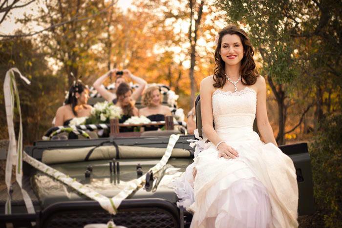 bride on safari vehicle south africa ngala
