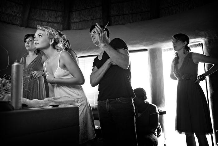 Game lodge bride and MUA before wedding
