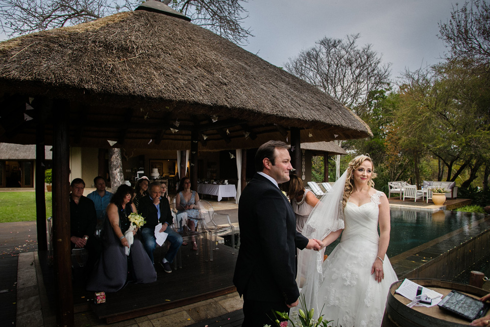 colour image of wedding ceremony at an african safari lodge
