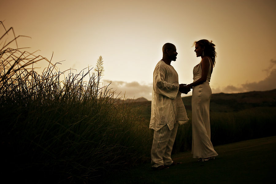Bride and groom and a Mauritius sunset