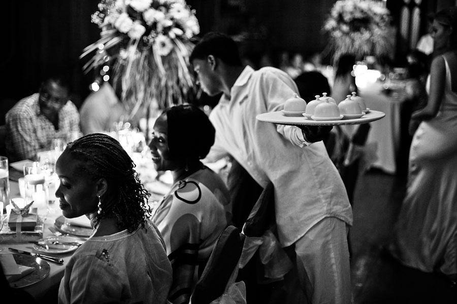 Dinner served at a Mauritius wedding reception