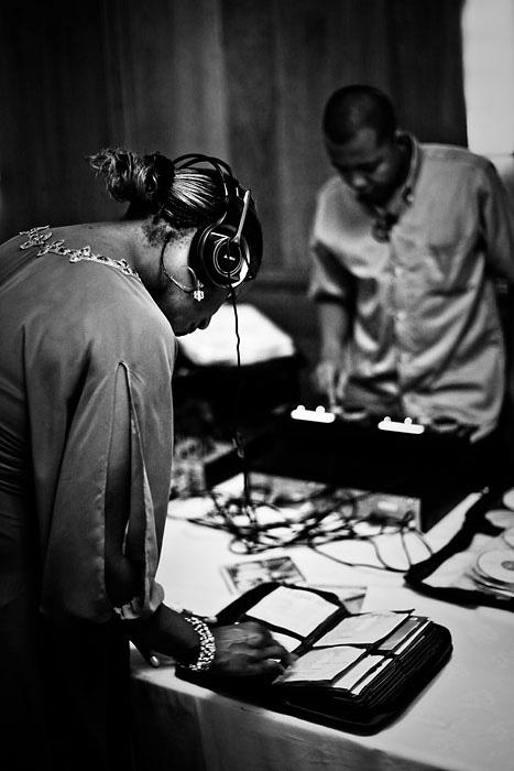 Guests playing DJ at Mauritius wedding